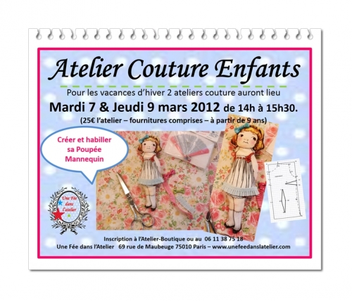 atelier couture, enfant, paris, vacances